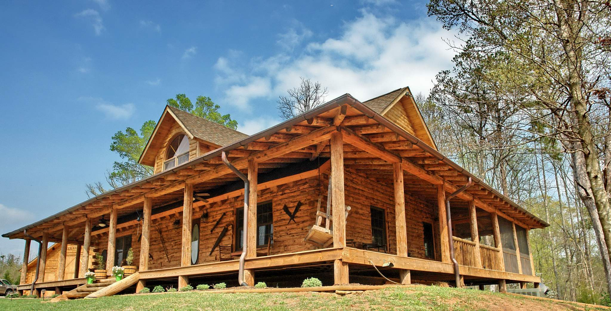 Model home country rustic dream home for Log cabin house plans with wrap around porches